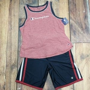 New Champion Tank & Vintage Gym Shorts Outfit Set